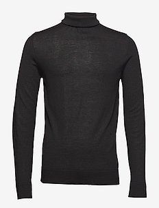Fine merino wool roll neck kni - BLACK
