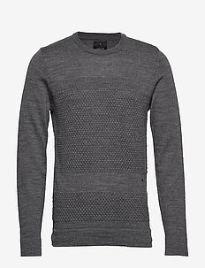 Fisherman knitted jumper - perusneuleet - grey mel