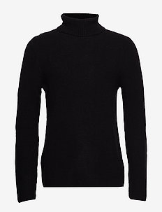 Rib roller neck jumper - BLACK