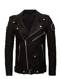 Embroidered leather biker jckt - BLACK