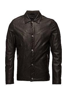Washed leather truck jacket - DARK BROWN