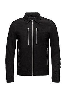 Leather trucker jacket - BLACK