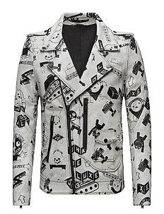 AOP crack leather jacket - WHITE