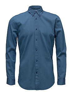 Indigo cotton twill L/S shirt - WASH INDIGO