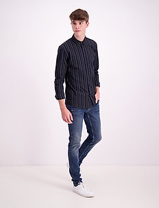 Stripe L/S oxford shirt - avslappede skjorter - black