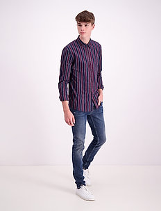 Stripe L/S oxford shirt - casual-paidat - burgundy