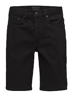 Black denim shorts - BLACK