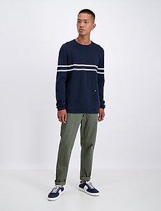 Contrast stripe knit jumper - rund hals - navy