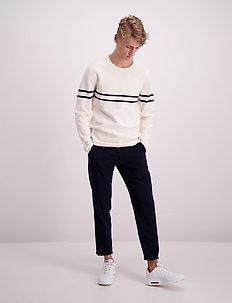 Contrast stripe knit jumper - rund hals - off white