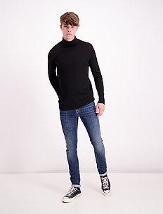 Fine merino wool roll neck kni - turtleneck - black
