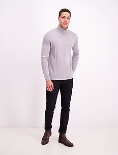 Fine merino wool roll neck kni - turtleneck - grey mel