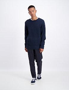 Fisherman knitted jumper - basisstrikkeplagg - navy