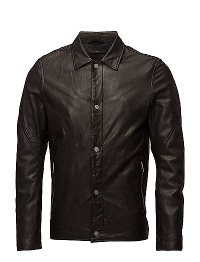 Washed leather truck jacket - DARK BROWN