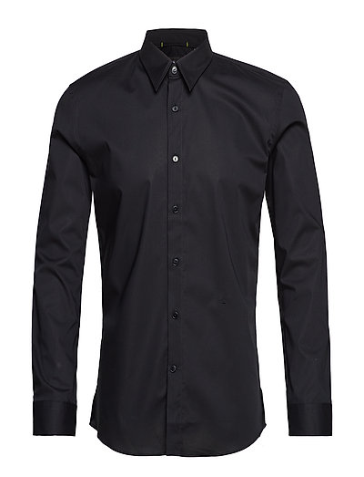 Stretch poplin shirt L/S - BLACK