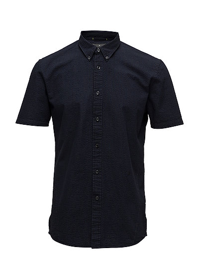 Seersucker S/S shirt - DEEP NAVY