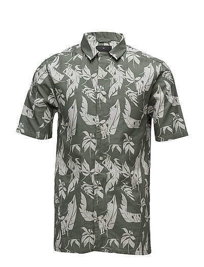 Leaf pattern bonded S/S shirt - MID GREEN