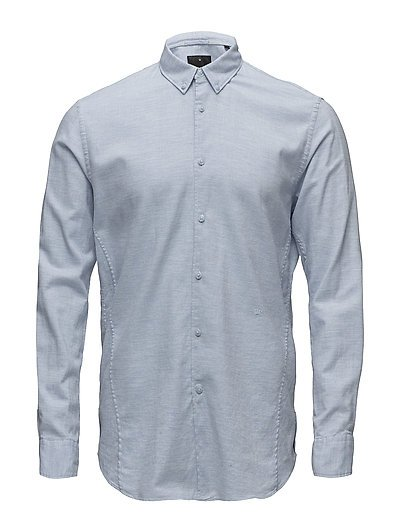 Cotton twill mélange L/S shirt - LT BLUE MEL