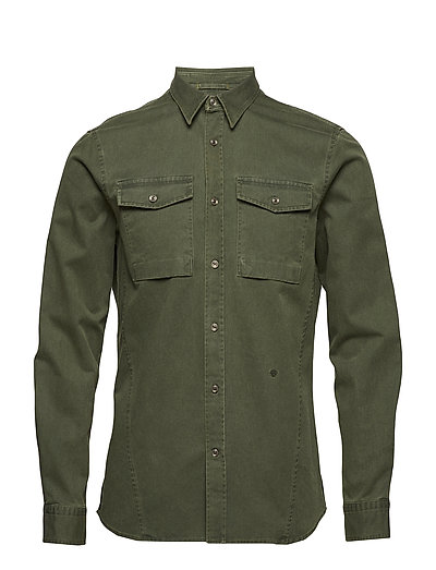 Washed military L/S shirt - ARMY