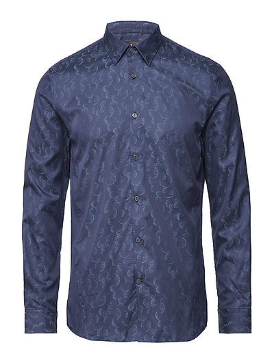Jacquard L/S dress shirt - DK BLUE