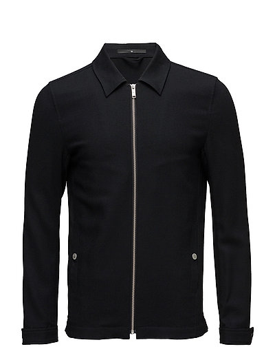 Fine twill zip up blouson - BLACK