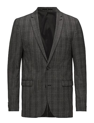 Stretch check wool blazer - GREY MEL