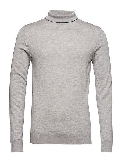 Fine merino wool roll neck - GREY MEL