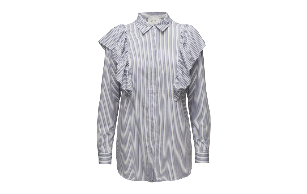 Shirt Blue Female 57 Polyester Just Verti Coton Stripe 43 qCE6xv6w