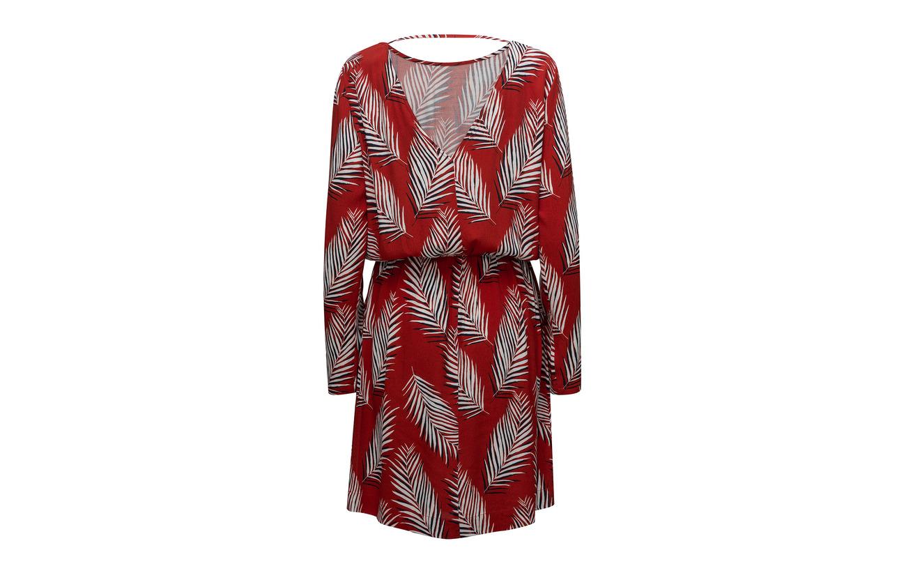 Female Viscose Aop Red Leaf Just 100 Dress dnwIYqq1