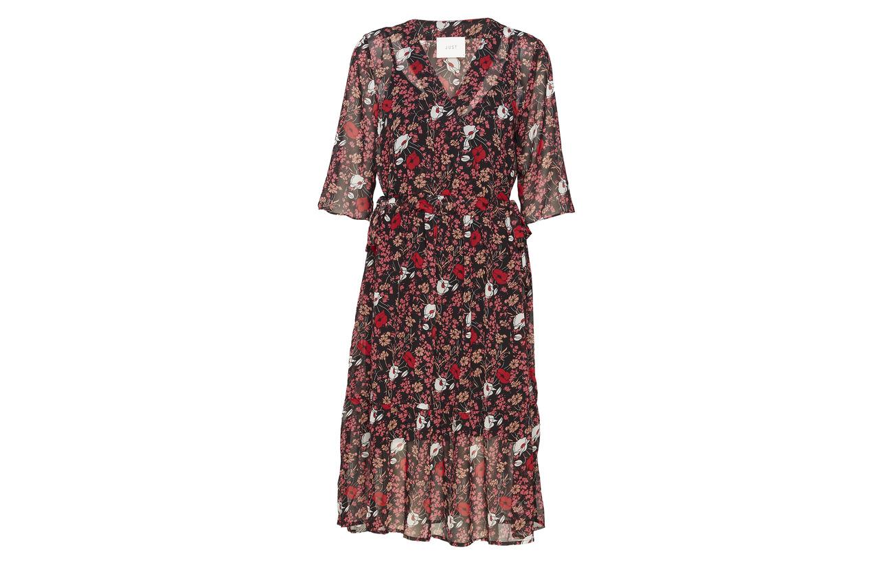 Red Antonin Flower Just 100 Polyester Dress Female Corn qfZxXSgw