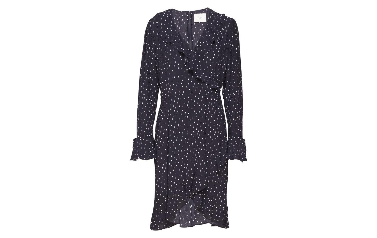 Cassandra 100 Aop Drops Viscose Just Frill Female Dress 5w4xfnqaP