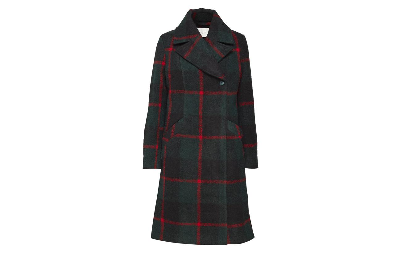 Laine Emeline 60 40 Check Green Coat Just Female Polyester qXO588