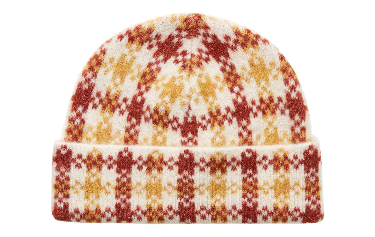 Just Female Harper knit hat - HARPER GOLDEN CHECK AOP