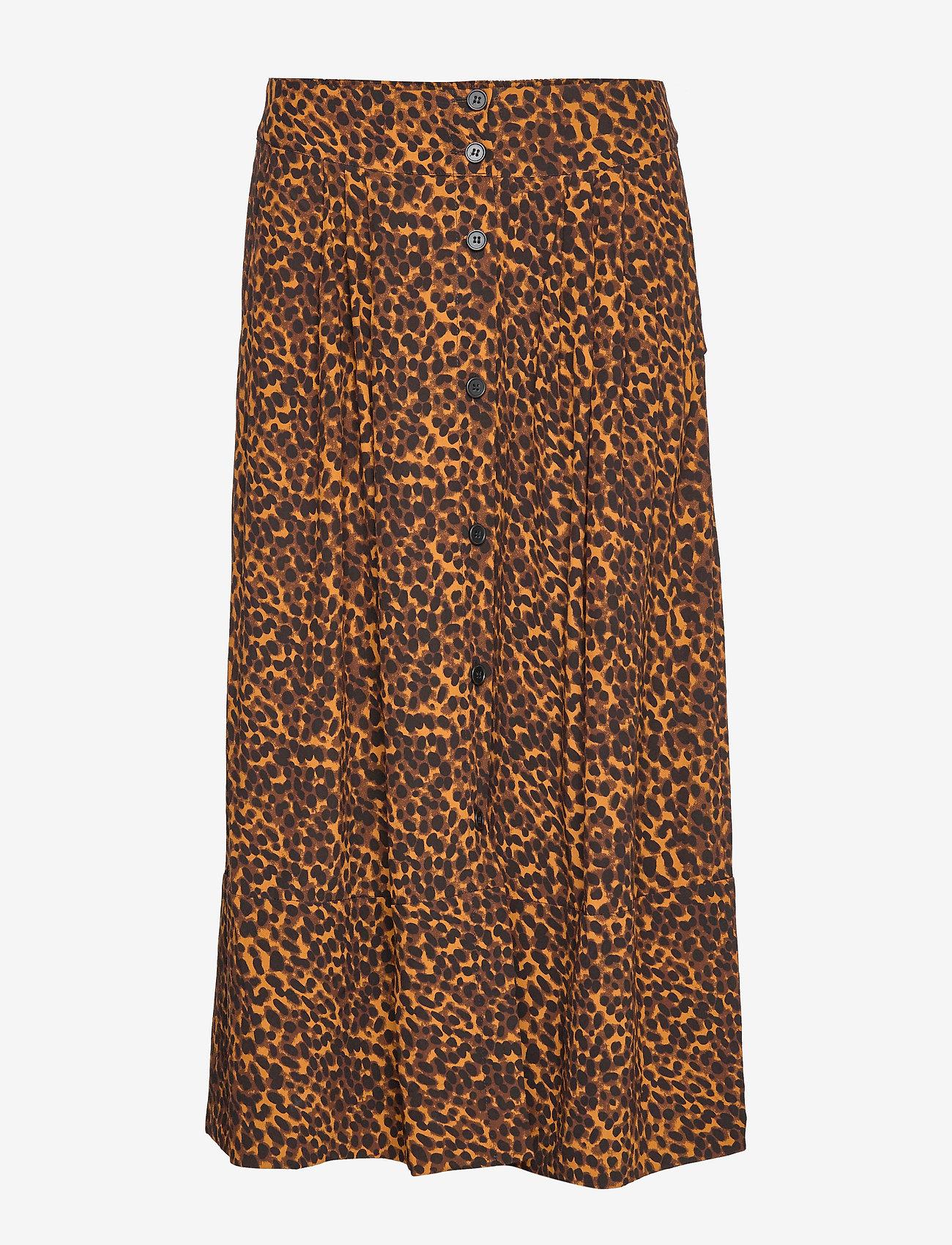 Just Female - Coca skirt - jupes midi - brown animal