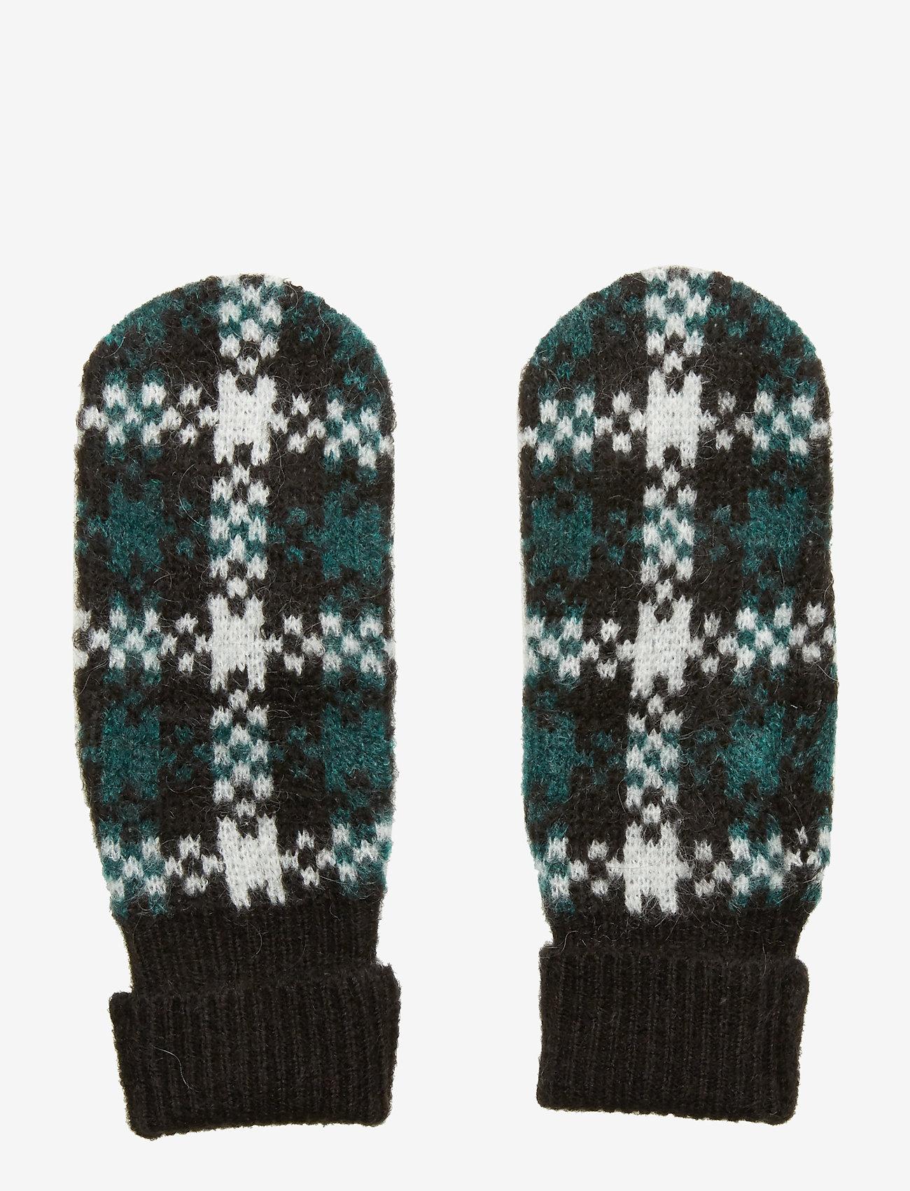 Just Female - Harper knit mittens - rękawiczki - harper green check aop - 0