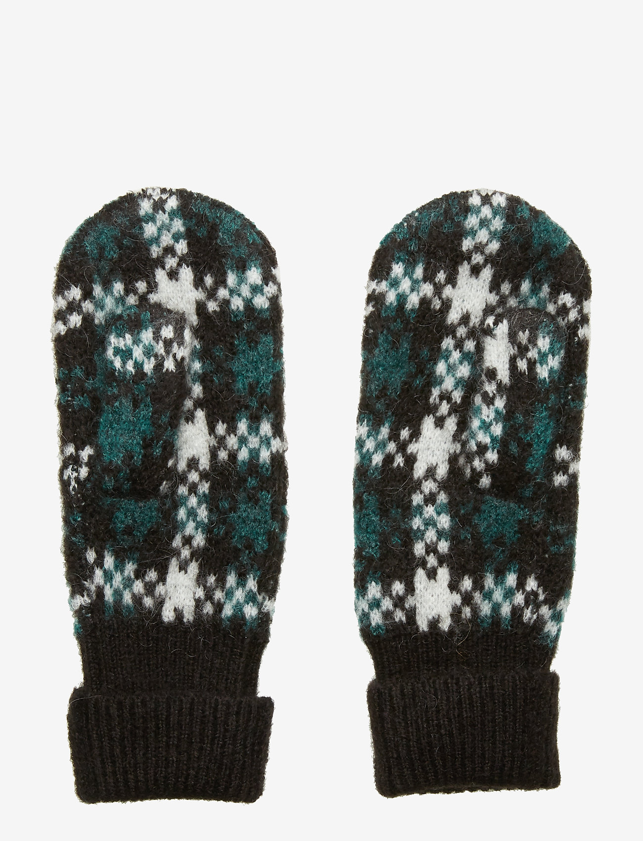 Just Female - Harper knit mittens - rękawiczki - harper green check aop - 1