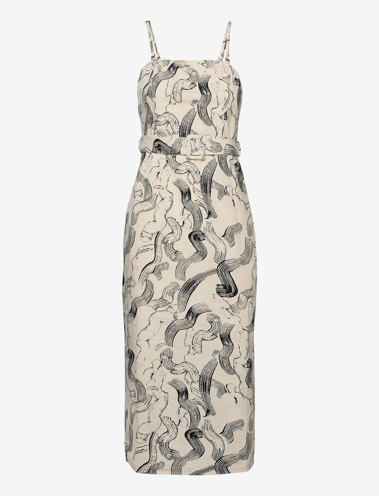 Just Female - Paper strap dress - midiklänningar - paint strokes aop - 0