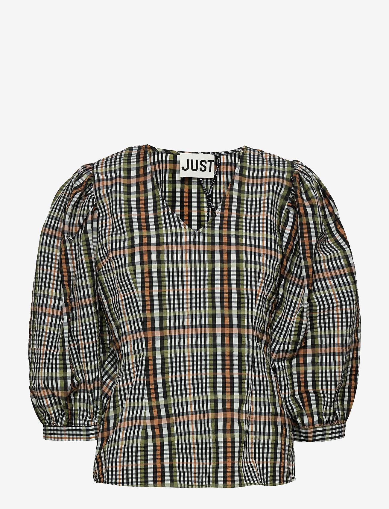 Just Female - Ethel blouse - långärmade blusar - clover check - 1