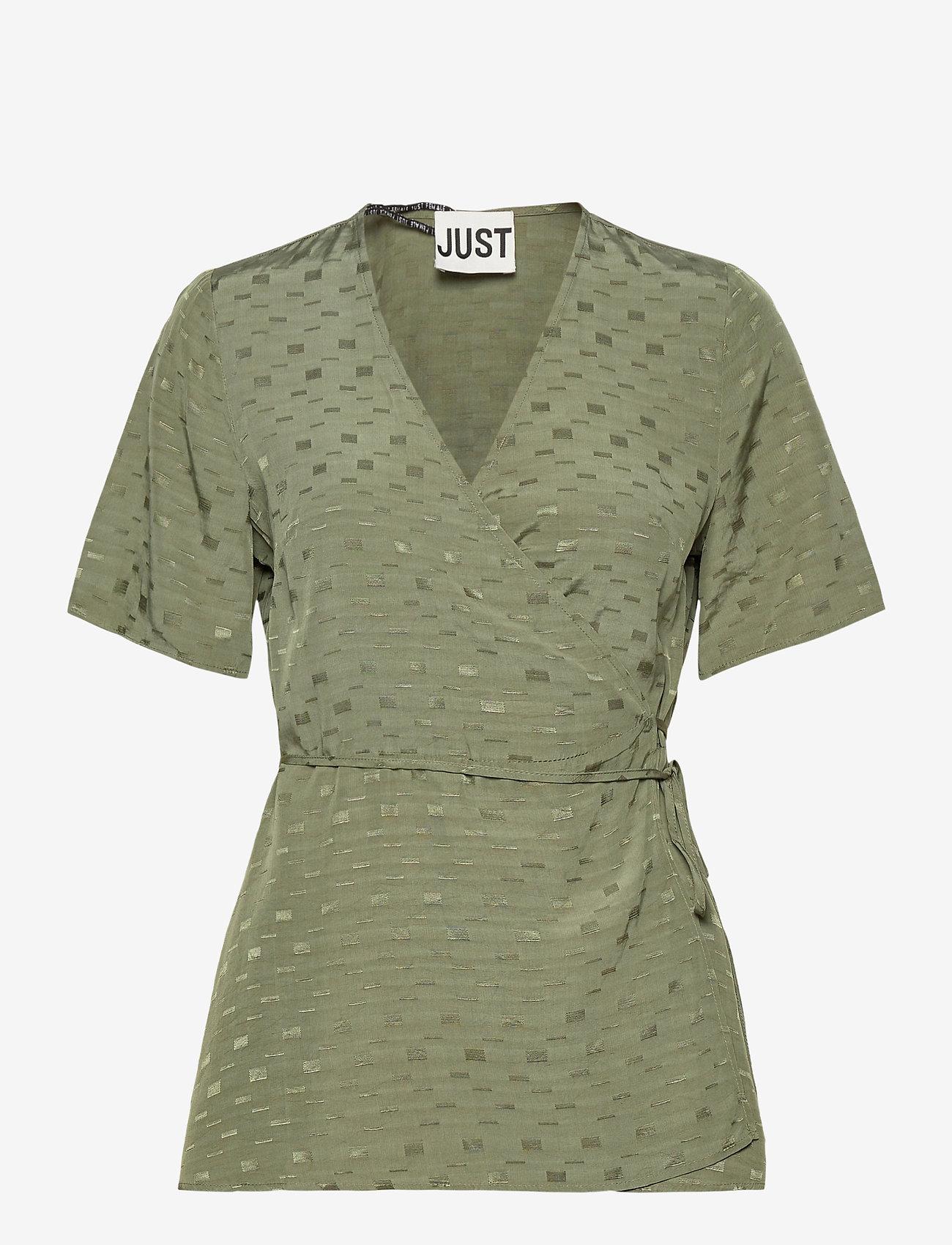 Just Female - Alvina wrap blouse - short-sleeved blouses - clover - 1