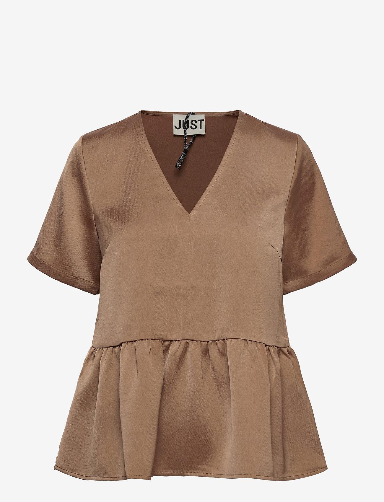 Just Female - Cady v-neck blouse - kortärmade blusar - walnut - 0