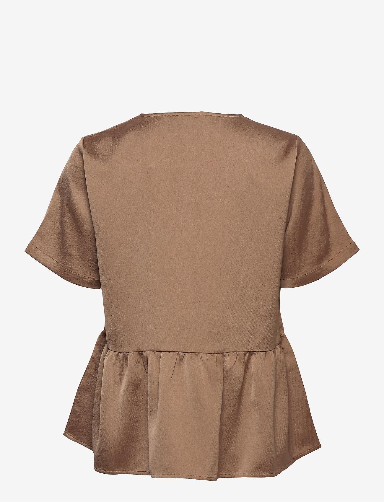 Just Female - Cady v-neck blouse - kortärmade blusar - walnut - 1