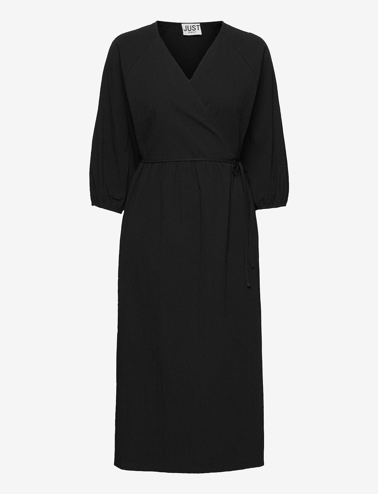 Just Female - Oakville wrap dress - midi dresses - black - 1