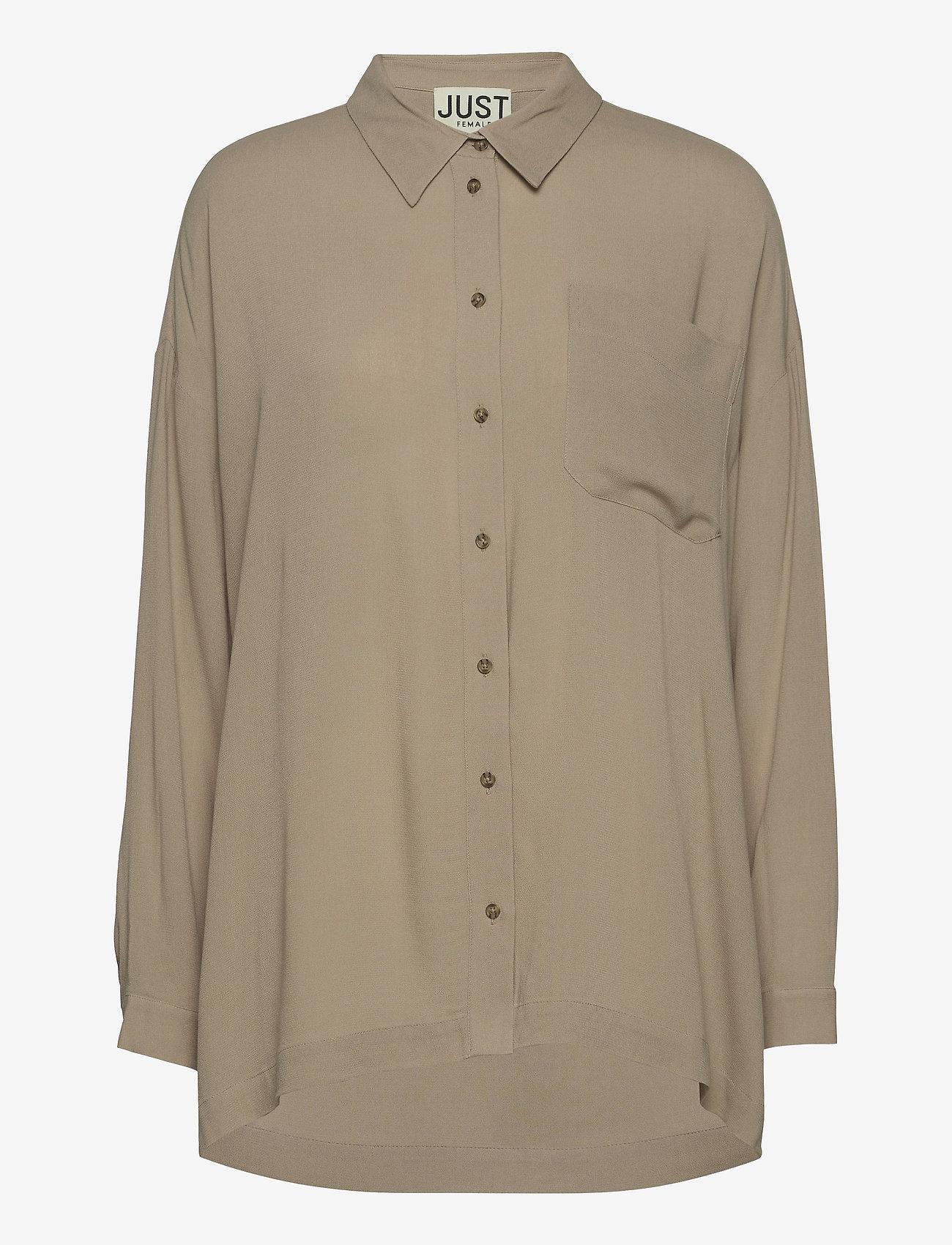 Just Female - Brooklyn shirt - long-sleeved shirts - cobblestone - 1