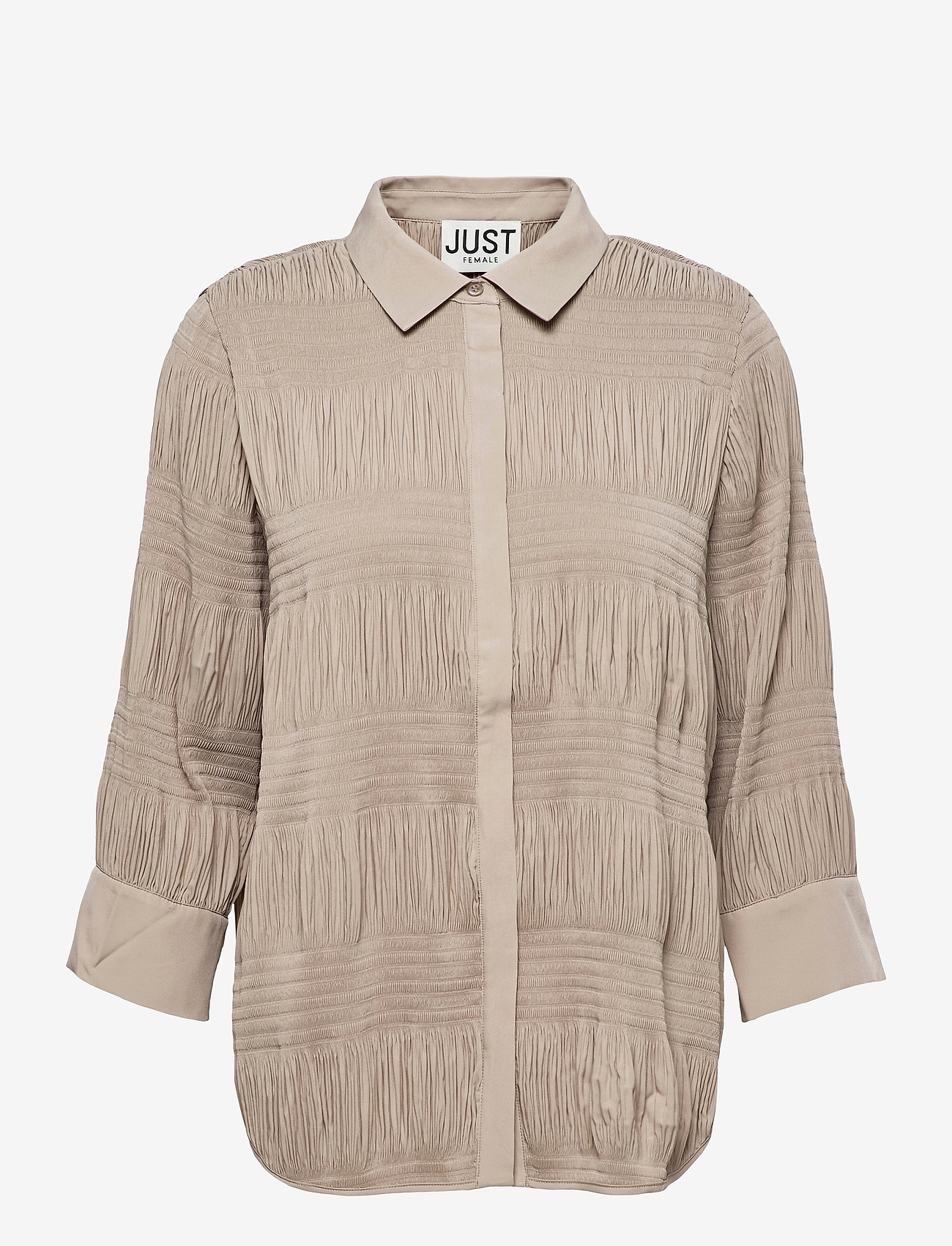 Just Female - Etienne shirt - long-sleeved shirts - cobblestone - 1