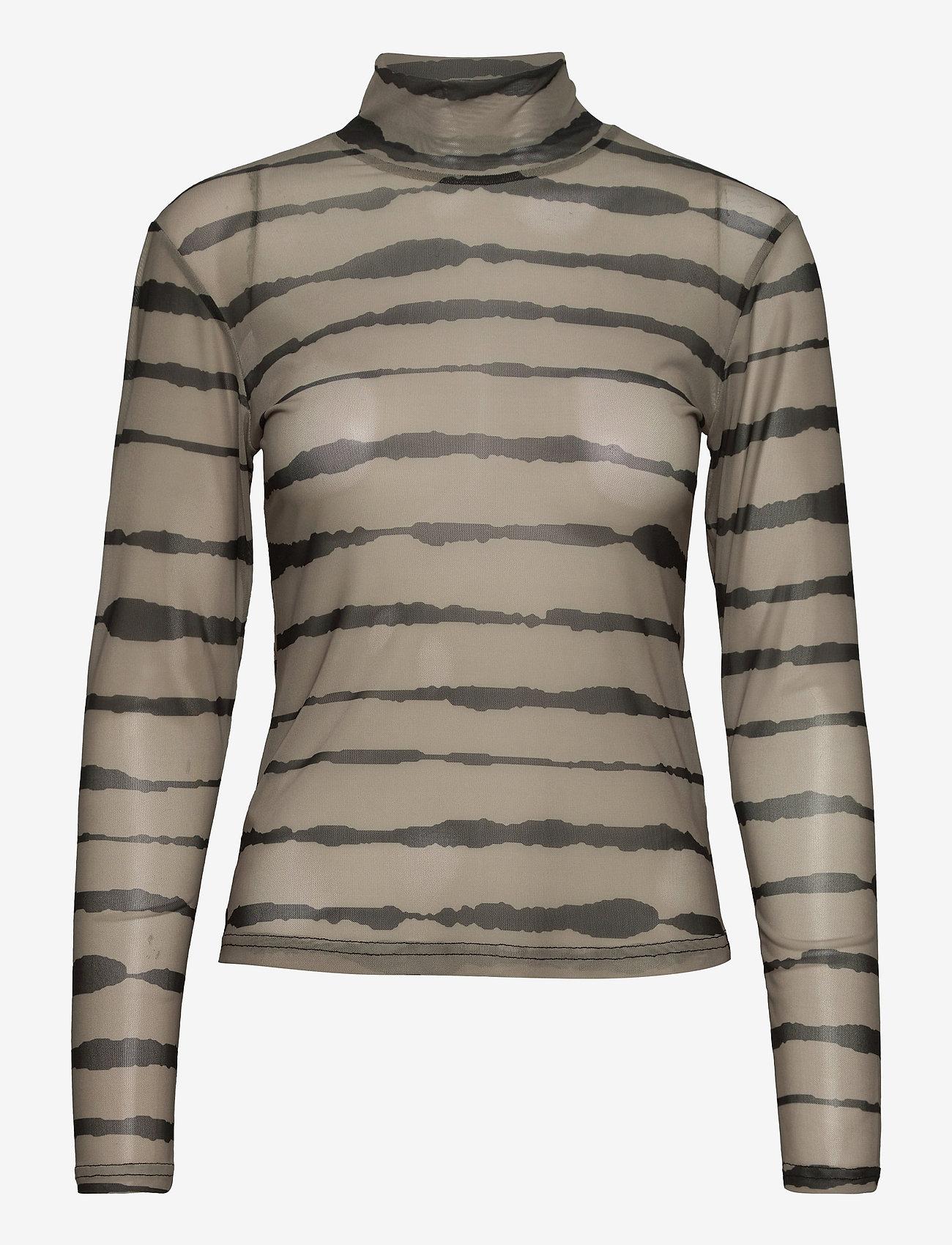 Just Female - Houston turtleneck - long-sleeved tops - uneaven lines aop - 1
