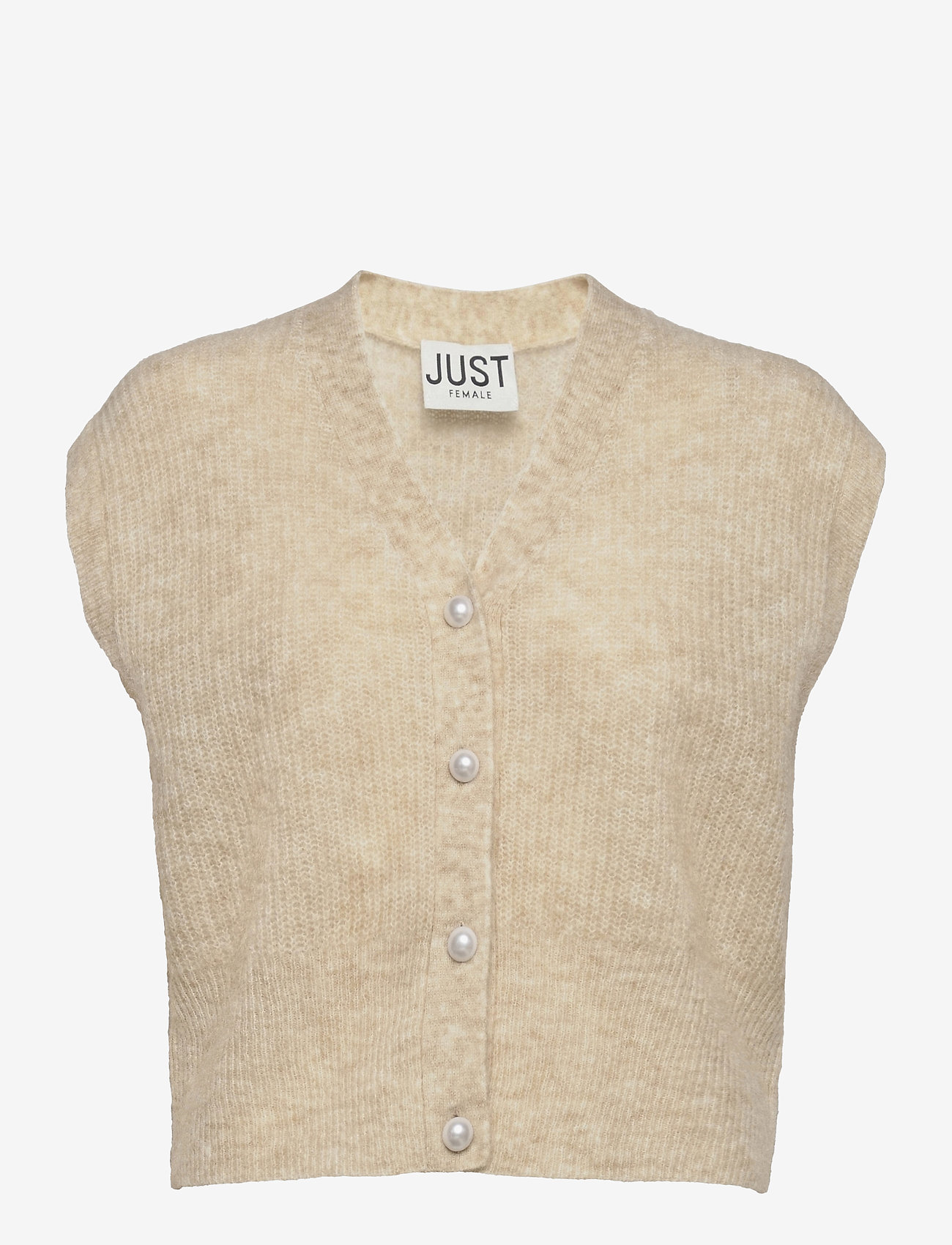 Just Female - Girona knit vest - knitted vests - pumice stone - 1