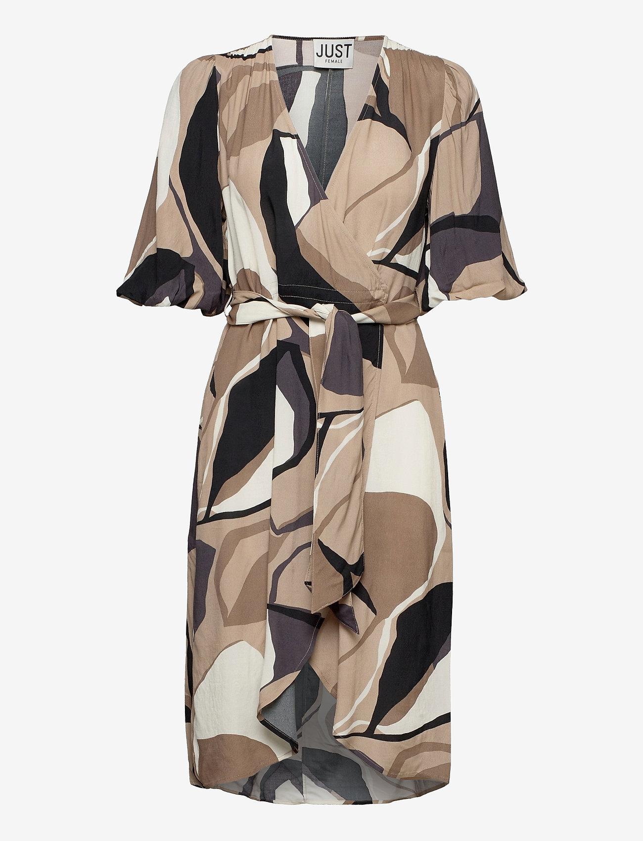 Just Female - Fontana wrap dress - summer dresses - illustrated flowers - 1