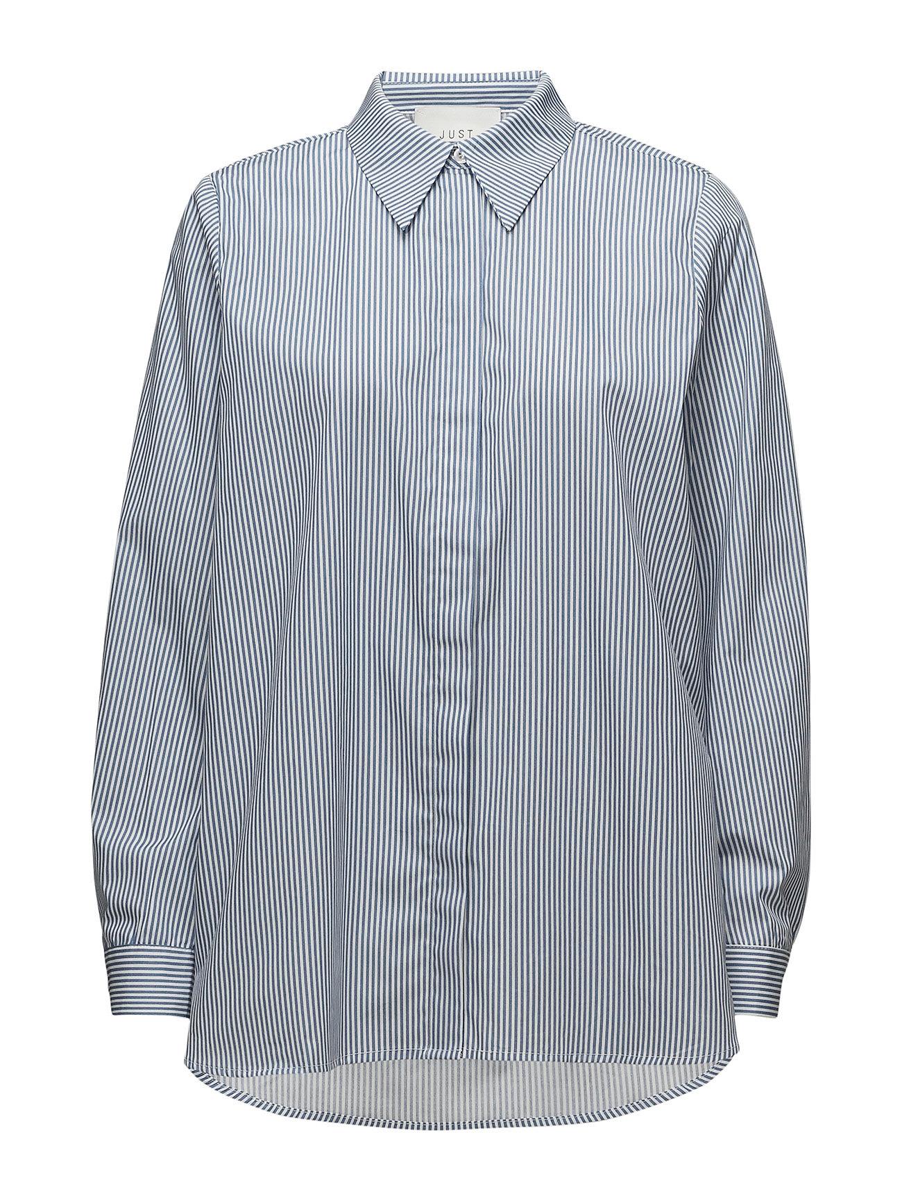 Image of Timeo Shirt Langærmet Skjorte Blå Just Female (3052621077)