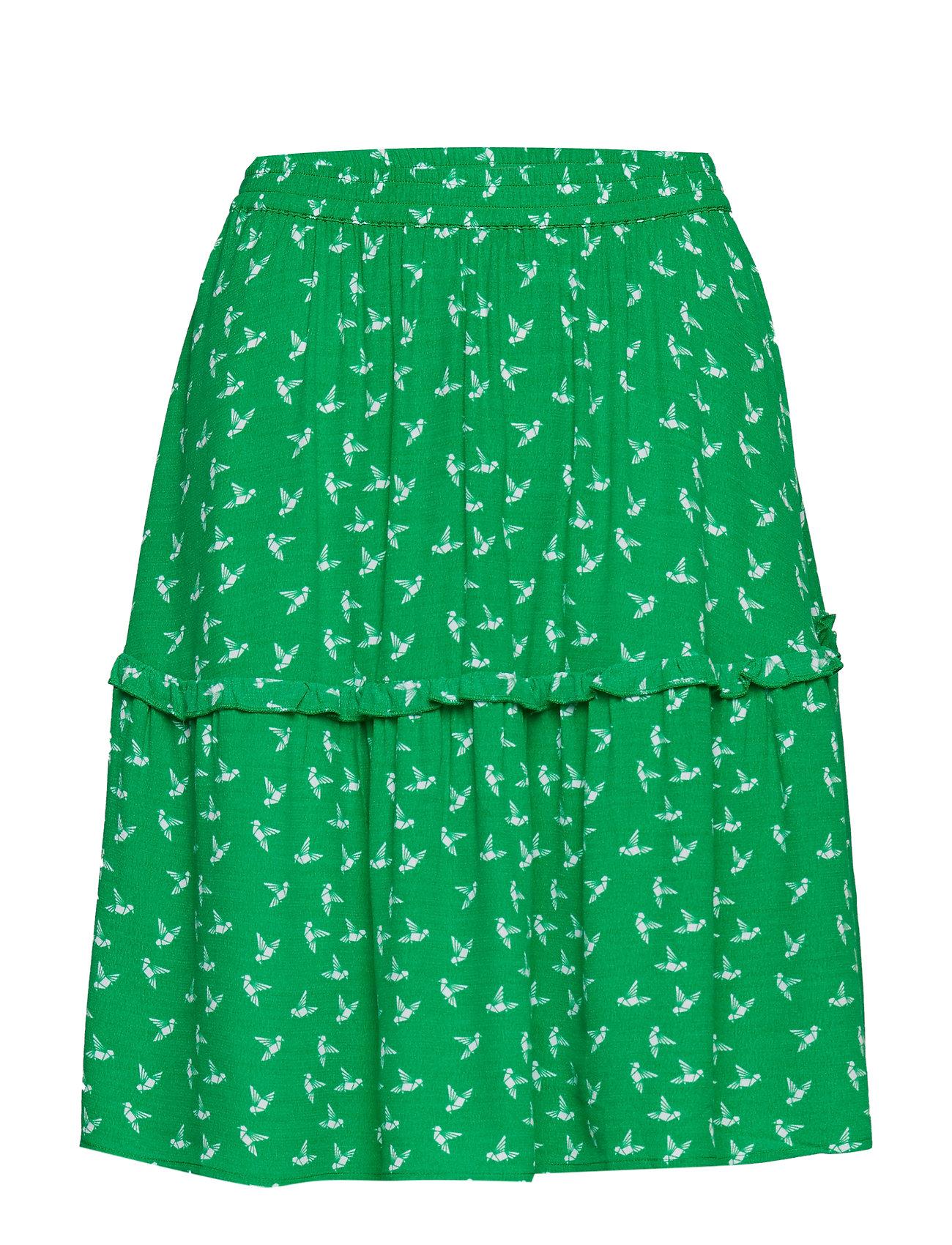 Just Female Elvira skirt - GREEN BIRD AOP