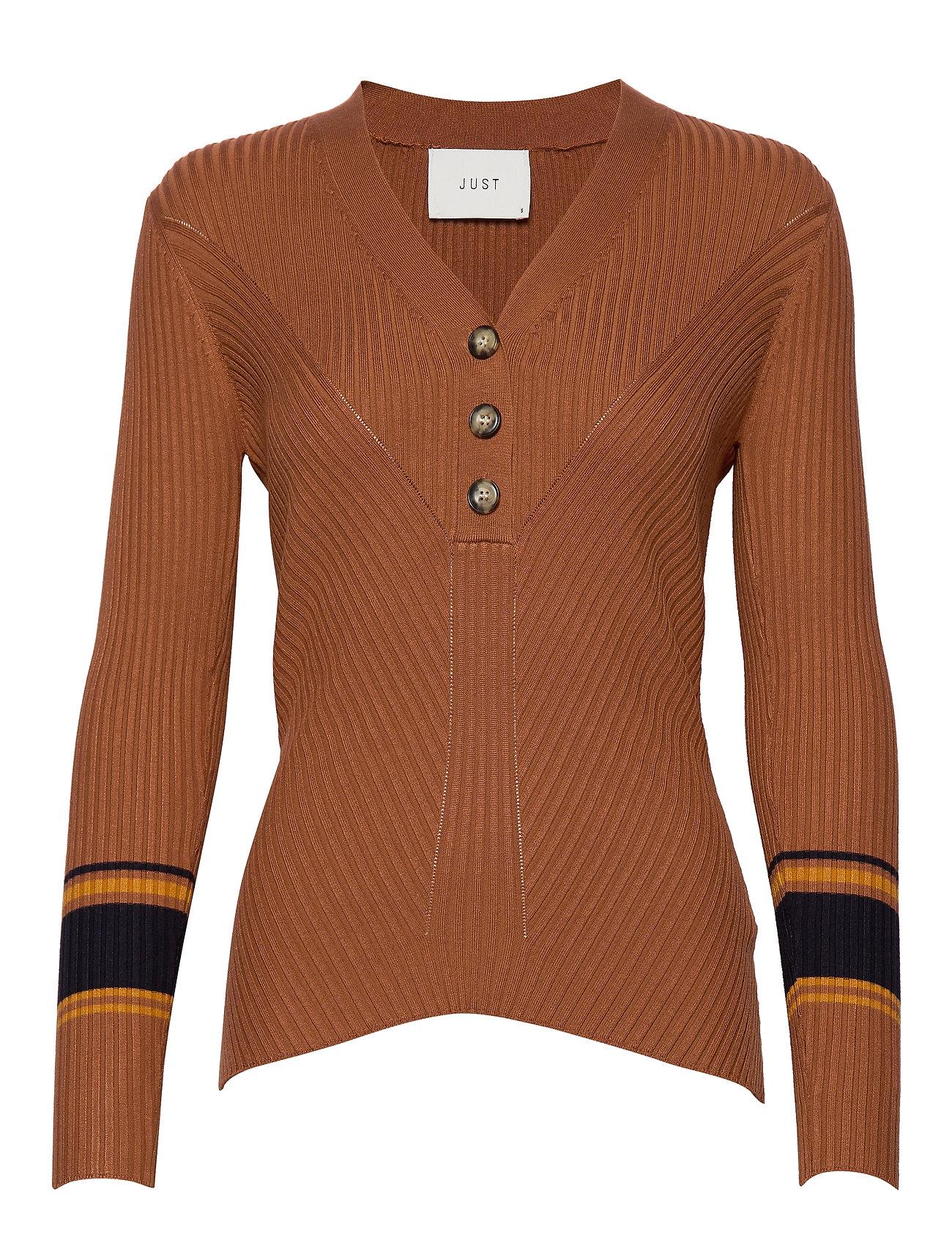 Just Female Vindis knit blouse - PUMPKIN SPICE COMB.