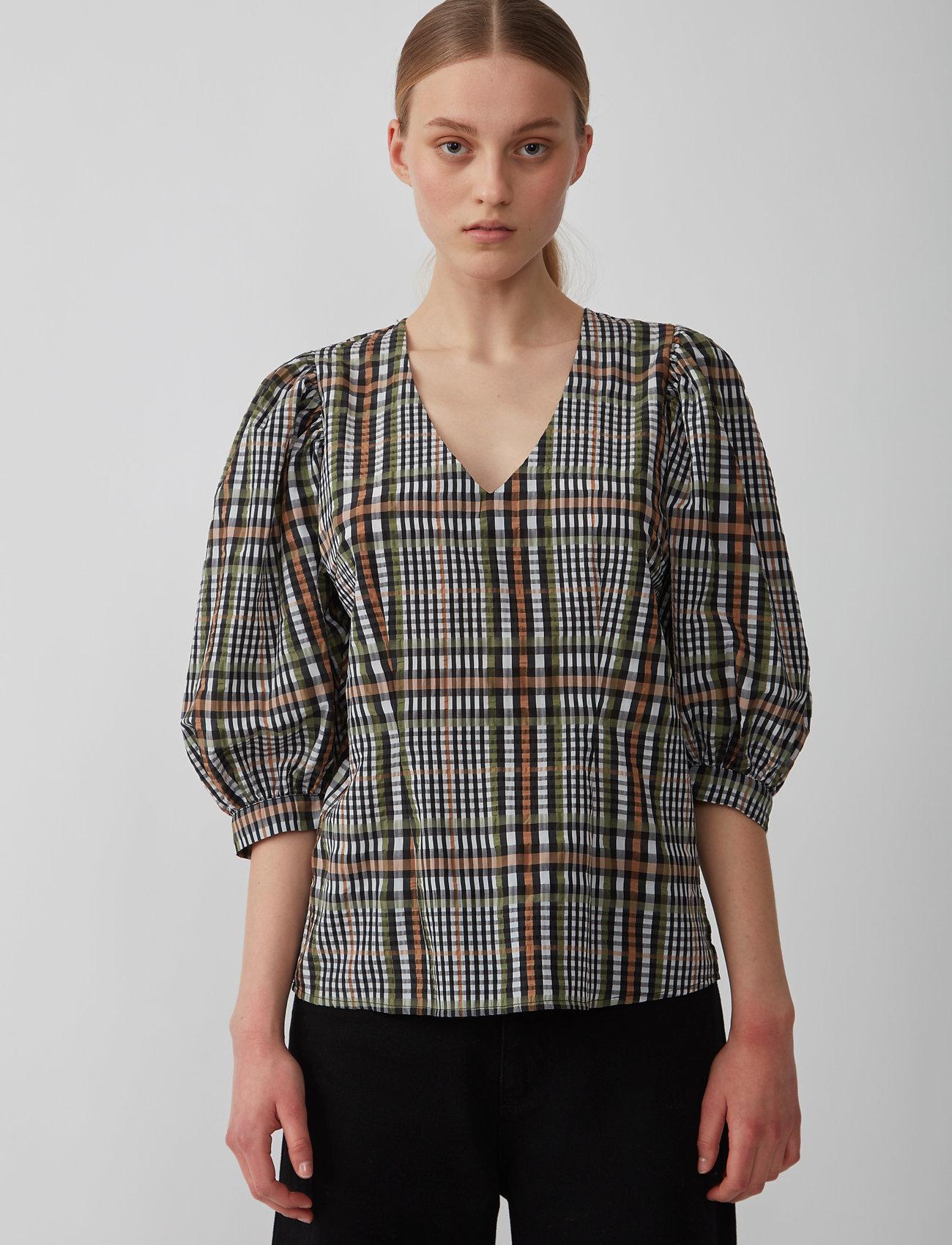 Just Female - Ethel blouse - långärmade blusar - clover check - 0